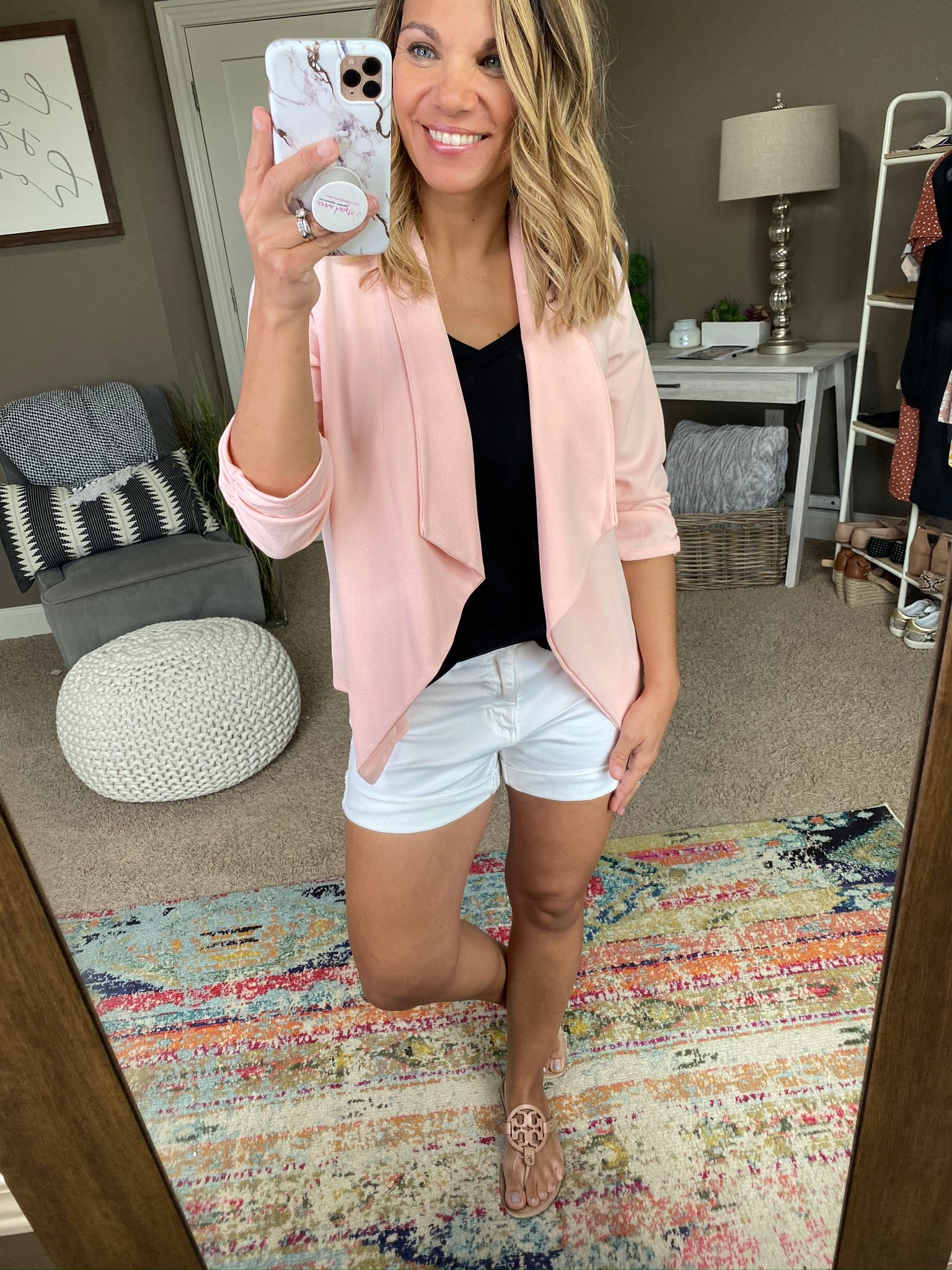 Independent Woman Open Front Blazer 3/4 Cinched Sleeve- Light Pink