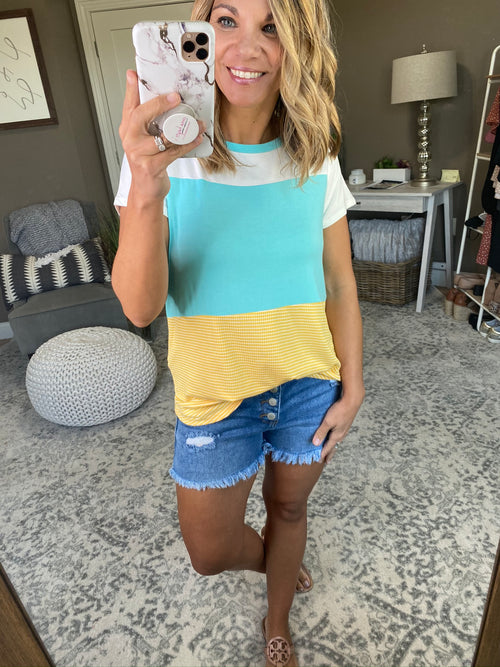 Making It Easier Color Block Tee- Ivory, Mint, Yellow