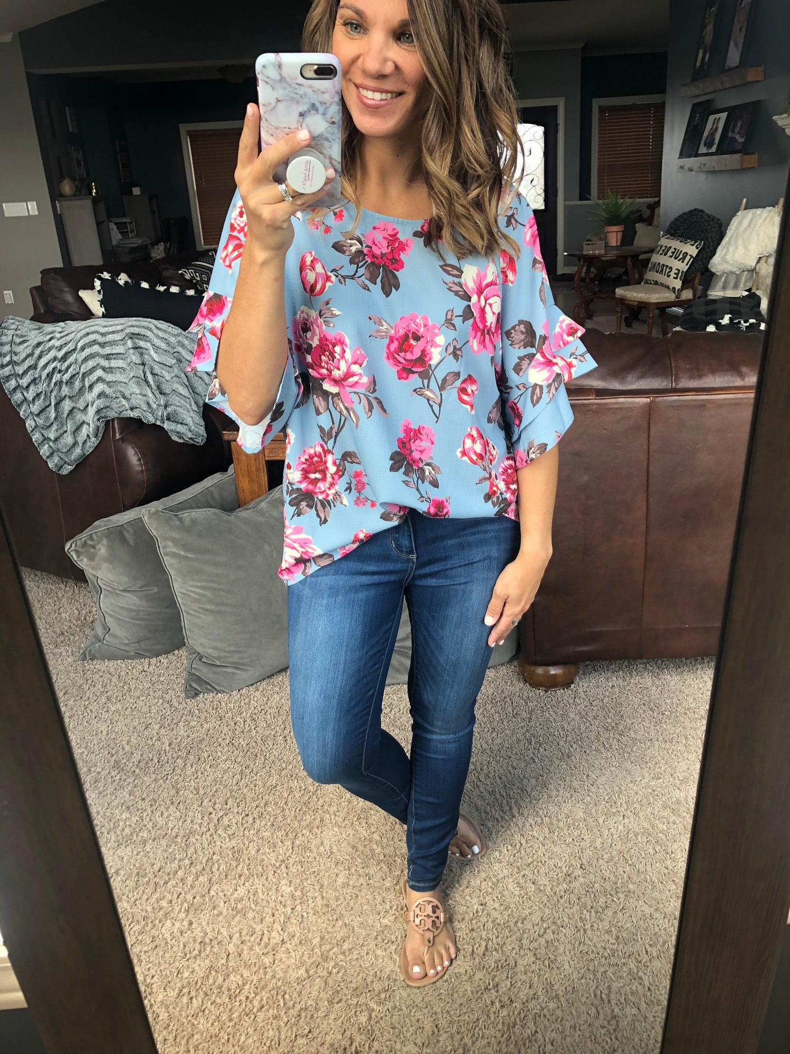 Unexpectedly In Love Floral Ruffle Sleeve Top- Blue
