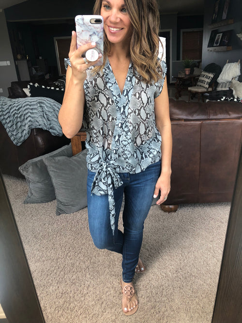 It's Not Complicated Snakeskin Wrap Blouse