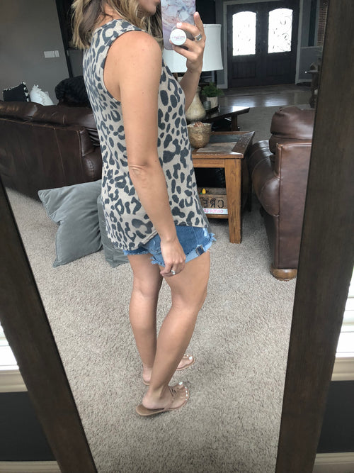 Don't Sweat It Leopard Tank with Rounded Hemline