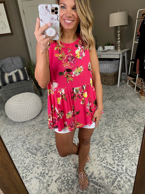 Get Ahold Of Me Pink Floral Peplum Tank