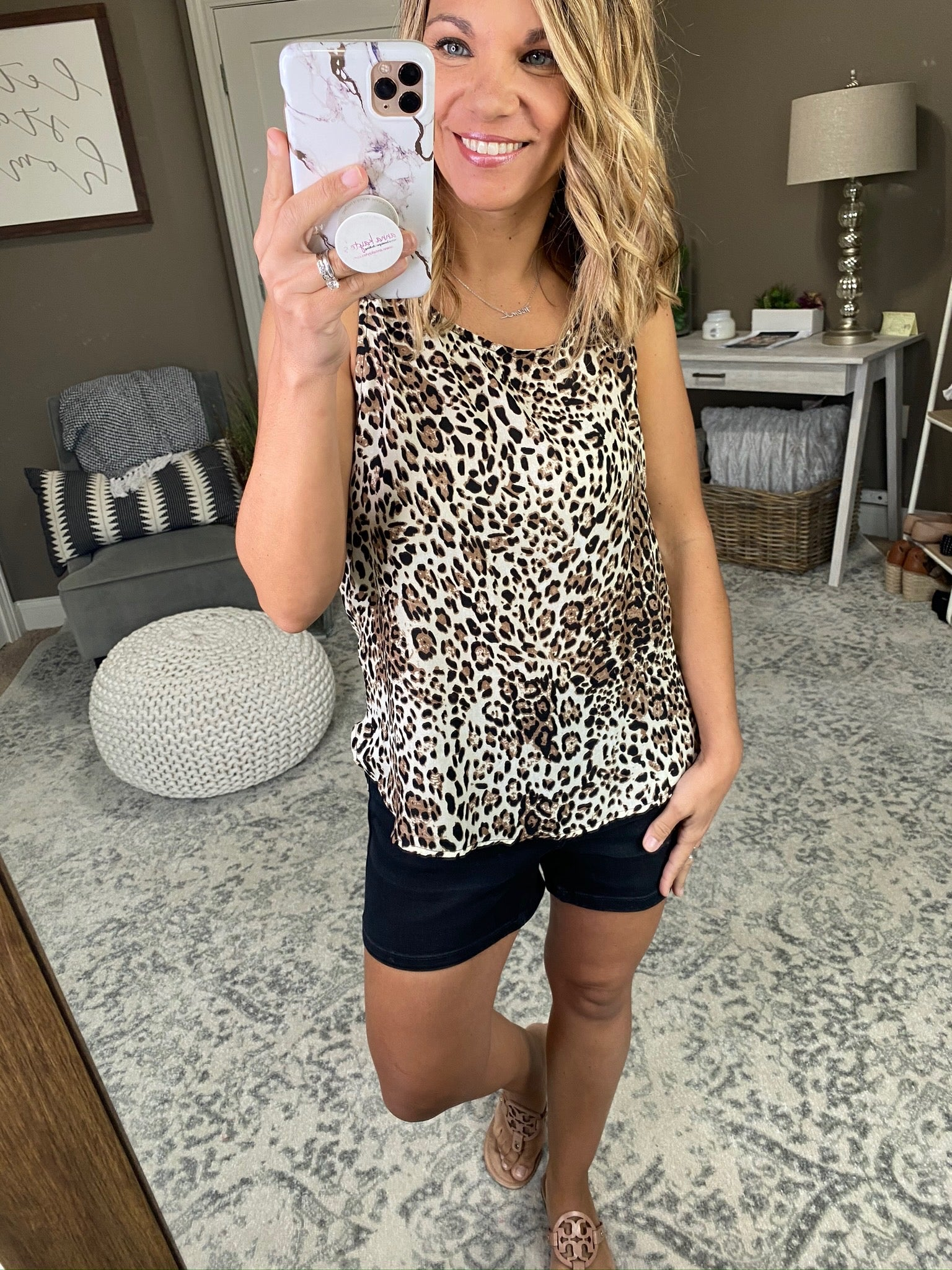 She's A Wild One Cream Leopard Tank