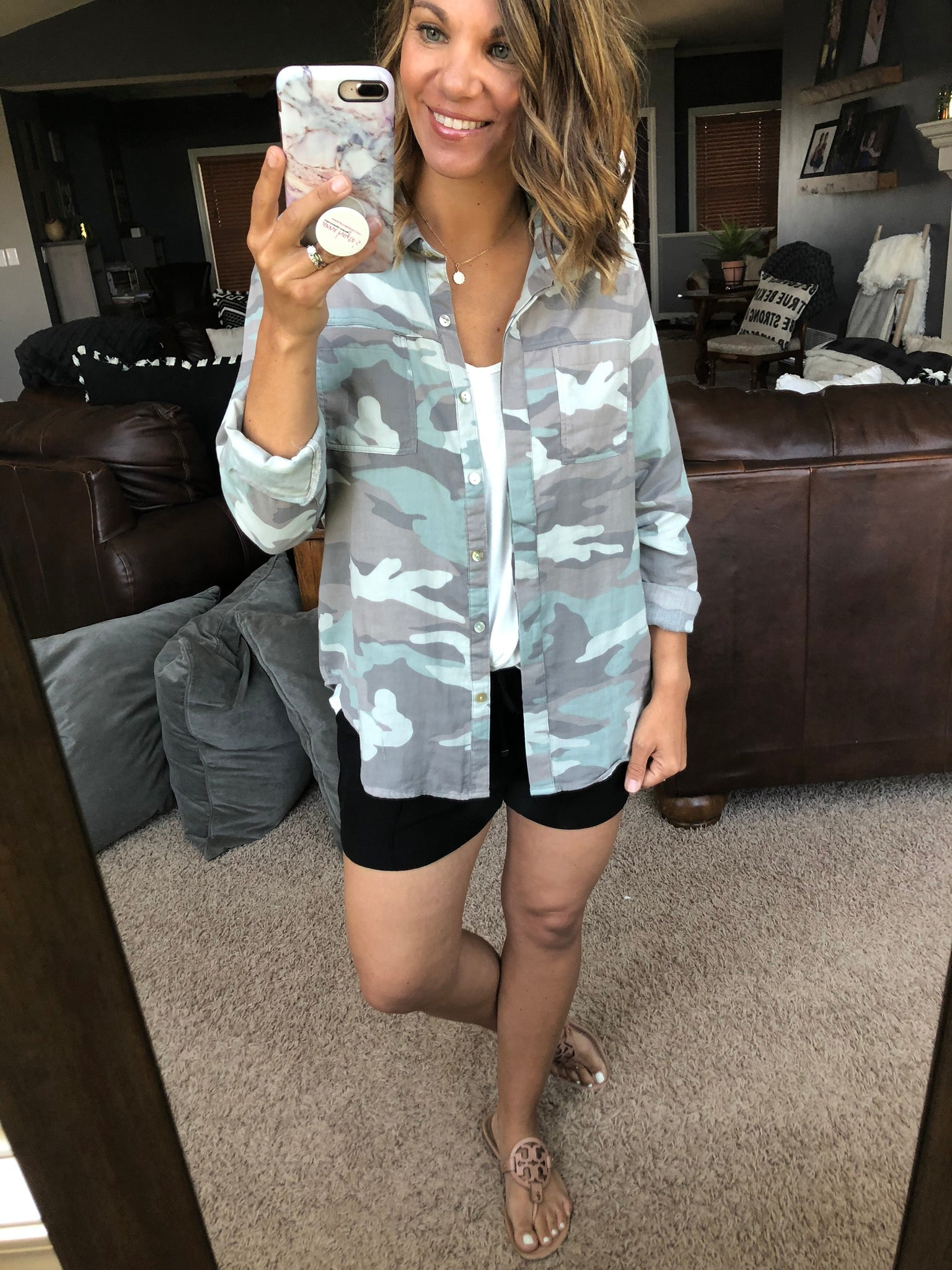 Cool Summer Nights Camo Button Down Long Sleeve Top