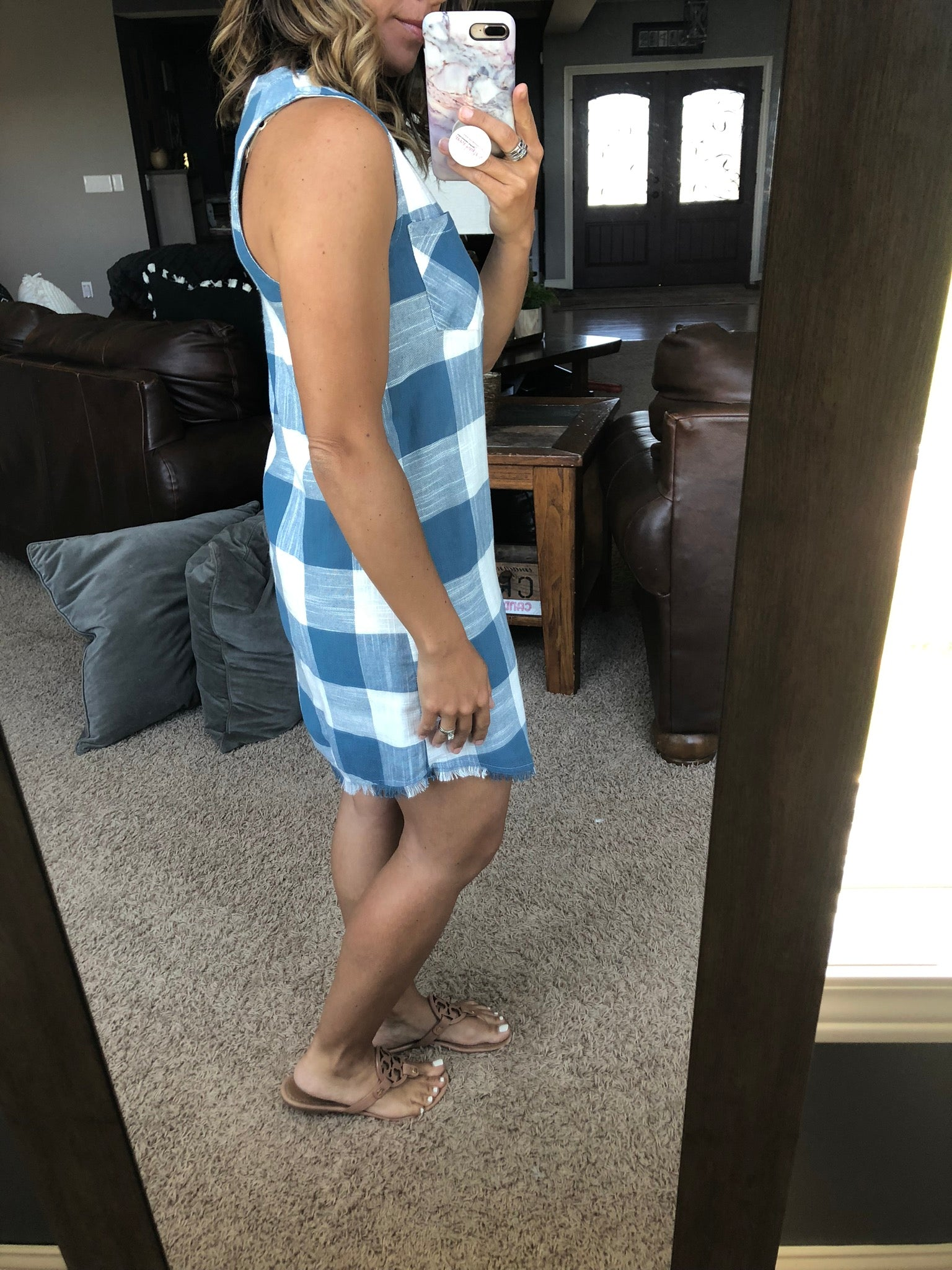Picnic Lunch Blue and White Plaid Sleeveless Dress