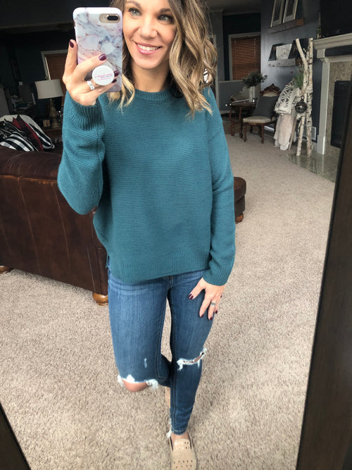 In a Hurry Lightweight Knit Sweater - Dark Teal