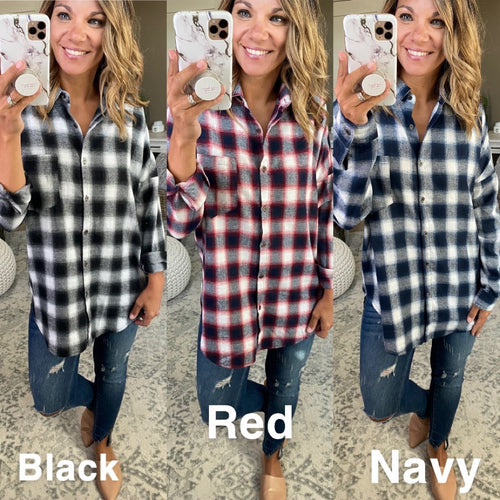 Front Porch Swinging Plaid Long Sleeve - Multiple Options