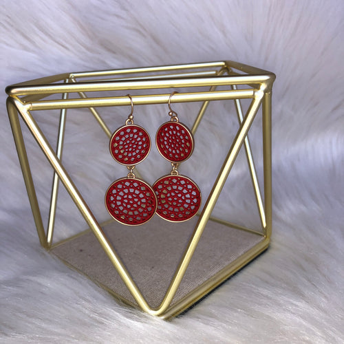 Dream Catch Me Gold and Red Earring