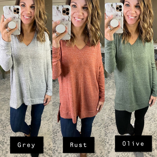 Soul Like Mine V-Neck Split Hem Brushed Fleece Long Sleeve- Multiple Options