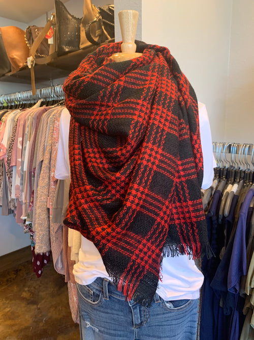 Feel The Love Red & Black Blanket Scarf
