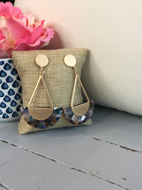Stand Tall Gold Earrings- Multi Colored Marble