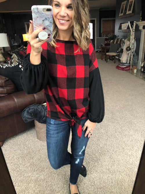 Second To None Buffalo Plaid Front Tie Long Sleeve