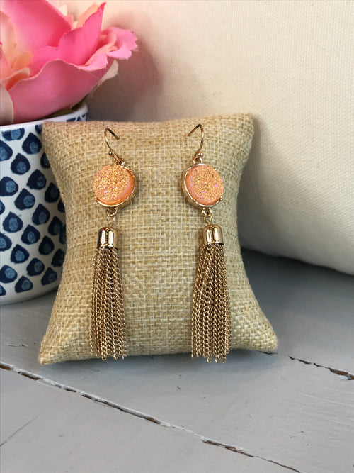 Hidden Gem Gold Tassel Earrings- Peach
