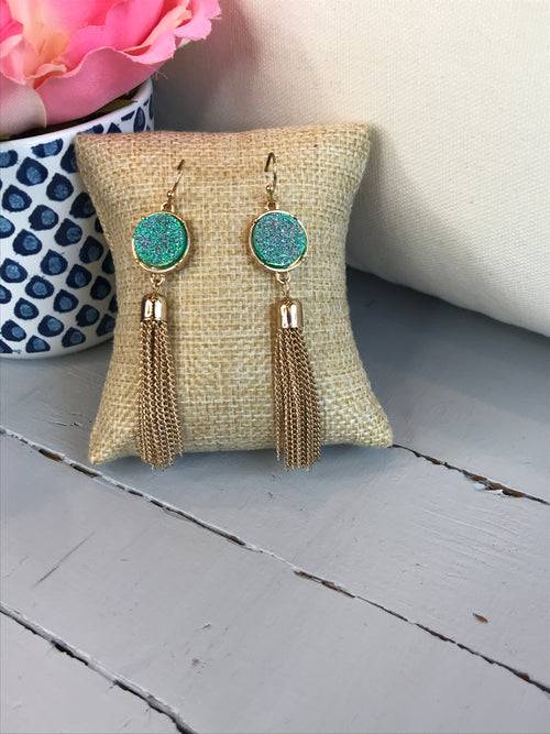 Hidden Gem Gold Tassel Earrings- Blue