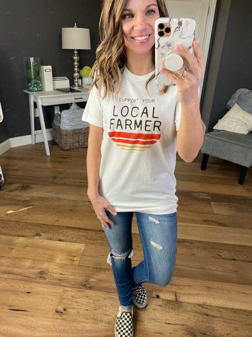 Support Your Local Farmer Vintage White Graphic Tee