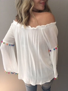 White Off Shoulder Pom Top