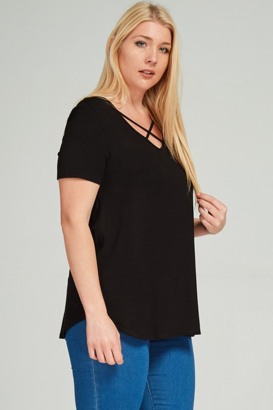 Calling On You Criss Cross Plus Tee