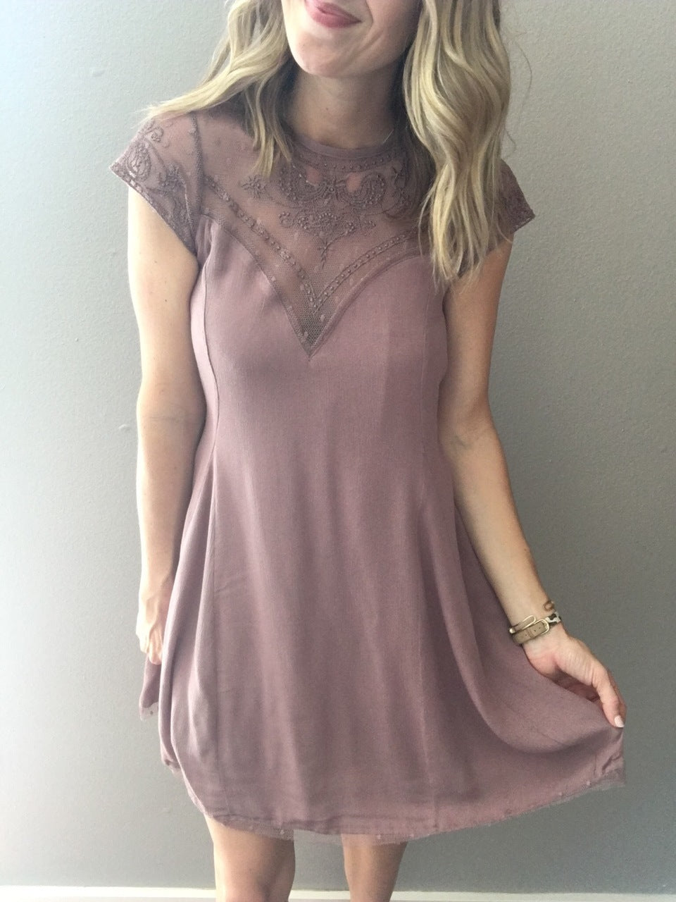 Layered In Lace Dress - Mauve