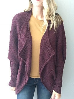 Keep It Casual Cardigan- Plum