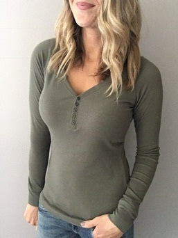 Truly Addicted Henley - Olive