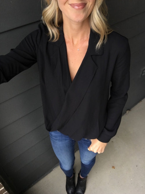 Work For It Black Blouse