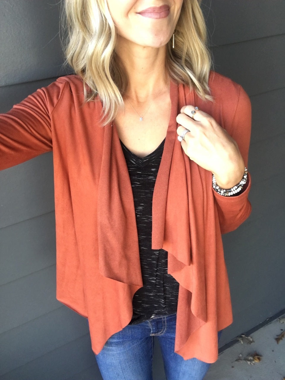 Swiftly in Suede Jacket in Rust