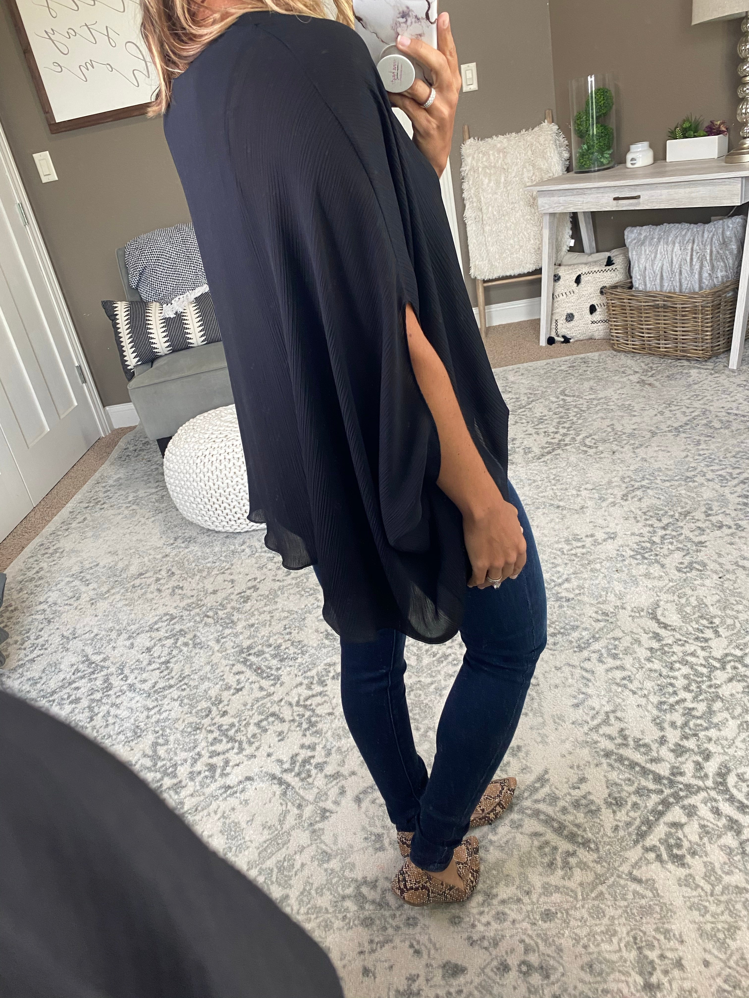 Hey Now Black V Neck Blouse