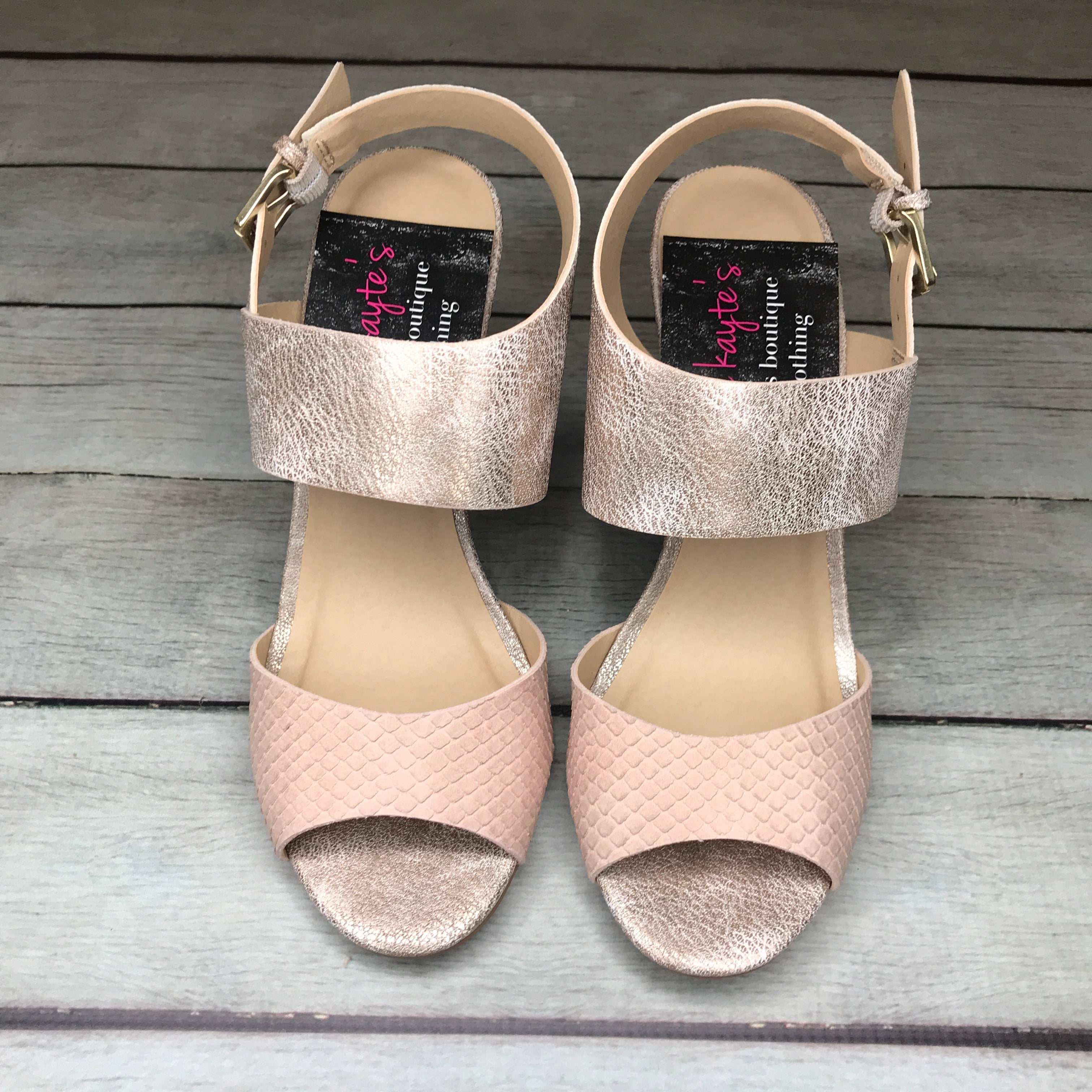 Jersey Girl Rose Gold and Snake Detail Wedges