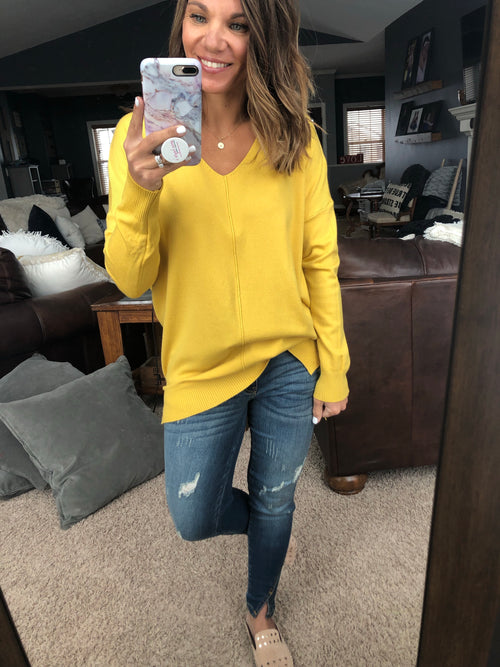 Try To Resist Exposed Seam Sweater - Yellow