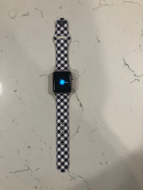 Time For Me Black and White Plaid Apple Watch Band- M/L Length
