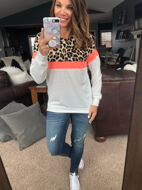 Don't Doubt It Cheetah, Coral and Ivory Color Block Crew Long Sleeve