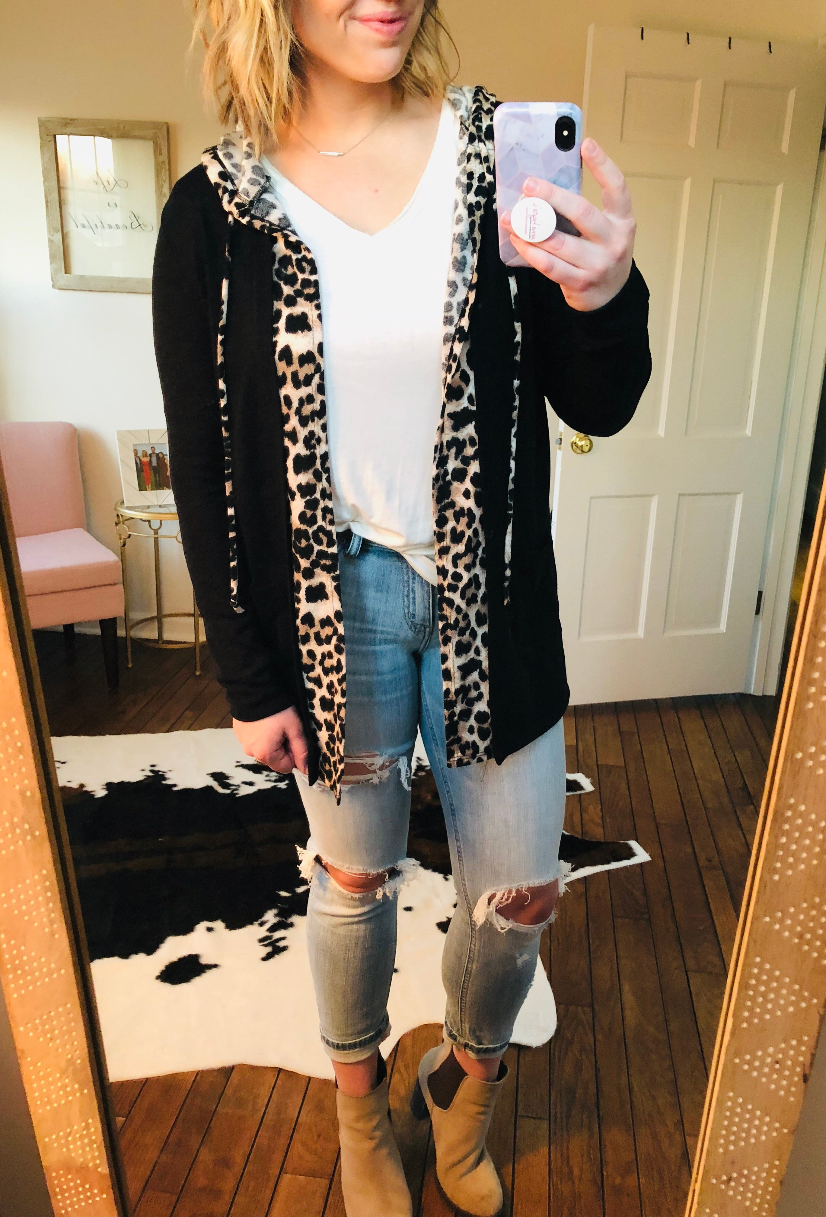 Sparks Will Fly Leopard Trimmed Black Cardigan