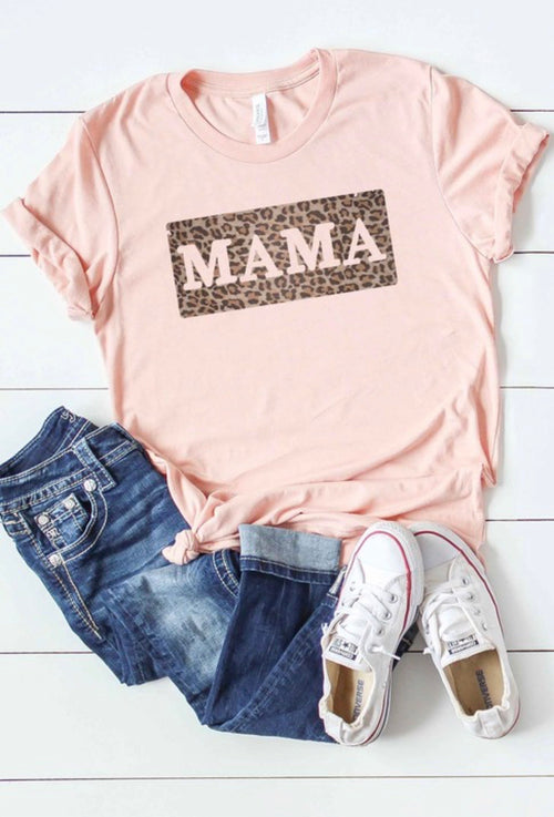 Mama Heathered Peach Graphic Tee With Leopard Print