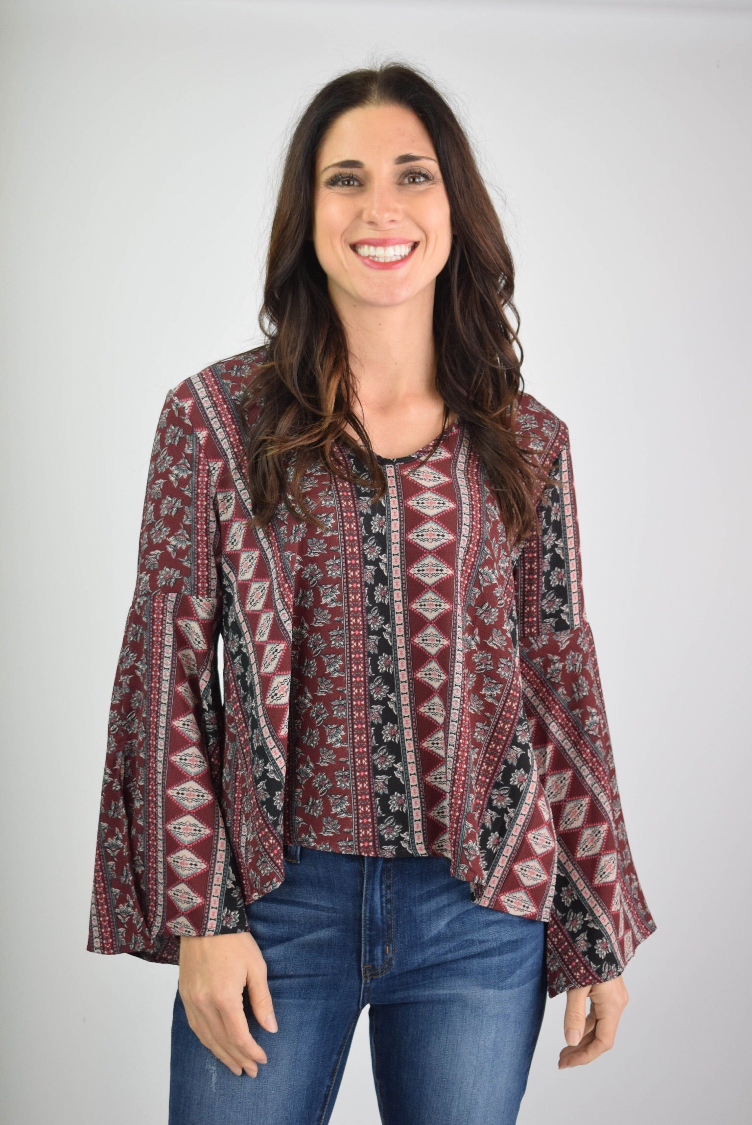 Losing Sleep Burgundy Gold Medallion Print Bell Sleeve Top