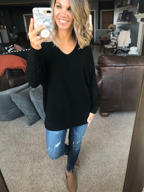 I Think I'm In Love Buttersoft V-Neck Exposed Seam Sweater- Black