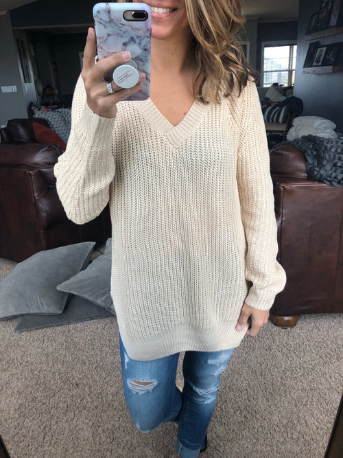 Making Demands Cream V Neck Sweater