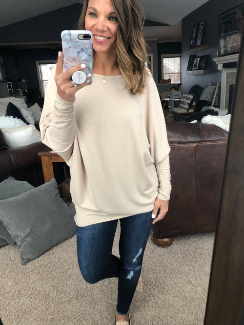 Losing Sleep Wide Neck Dolman Long Sleeve- Taupe