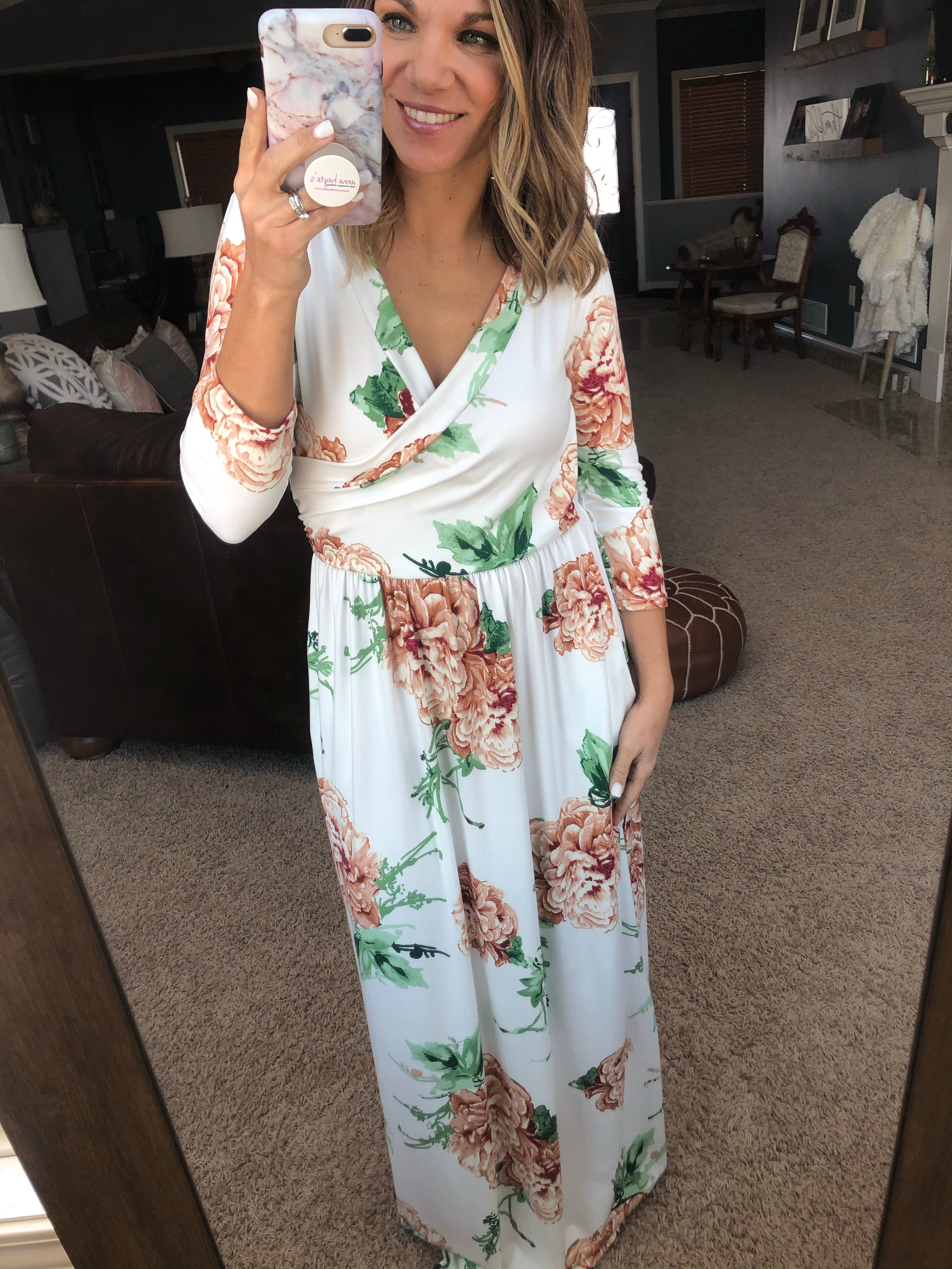 Dance In The Garden Ivory Floral Maxi Dress With Pockets