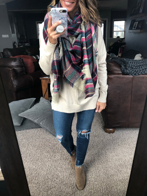 The Windy City Blanket Scarf- Cream, Pink, Navy, Green and Red