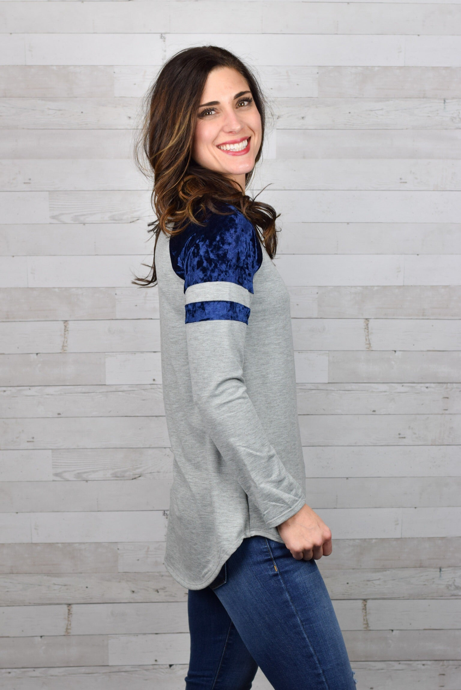Higher Standards Velvet Accent Long Sleeve Top