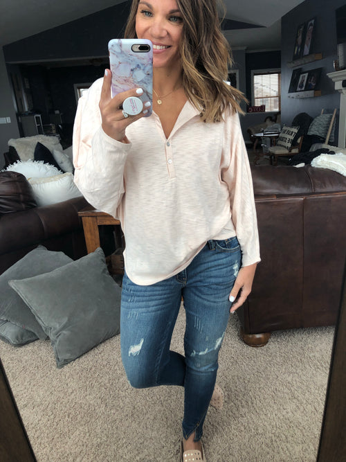 Get Ready For More Henley Dolman long Sleeve- Peach