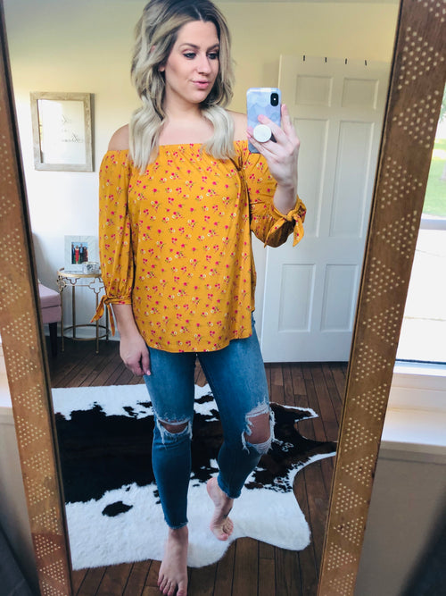 Grand Entrance Mustard Floral Off Shoulder Top