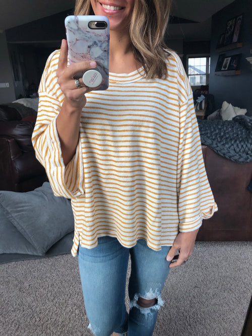 Back To Life Mustard Stripe Long Sleeve Top