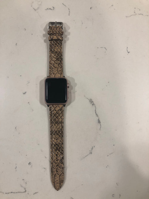 The Clarissa Snakeskin Print Faux Leather Apple Watch Band