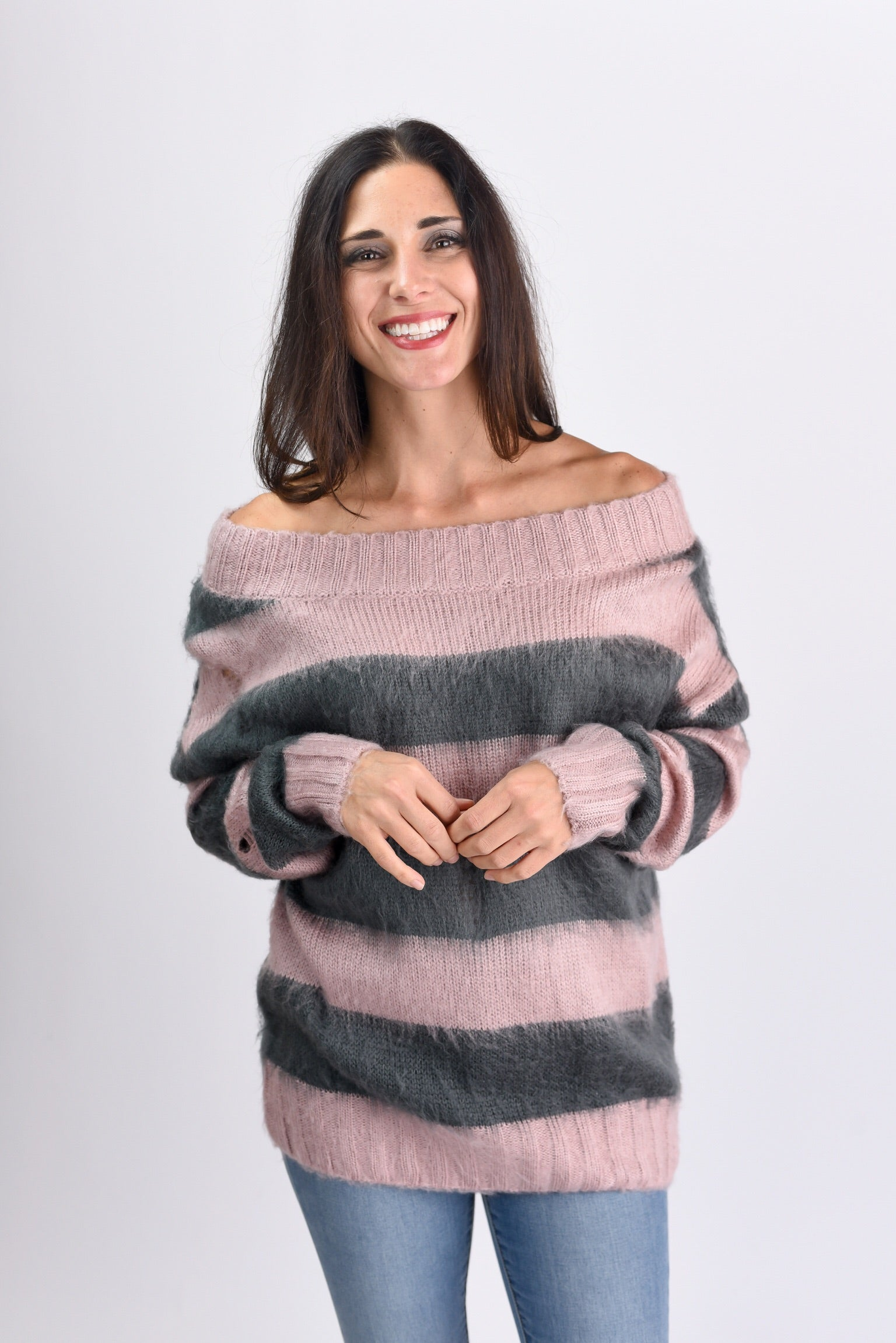 Uptown Distressed Stripe Off Shoulder Sweater
