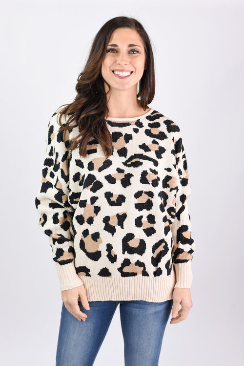 The Wow Factor Leopard Print Open Back Sweater