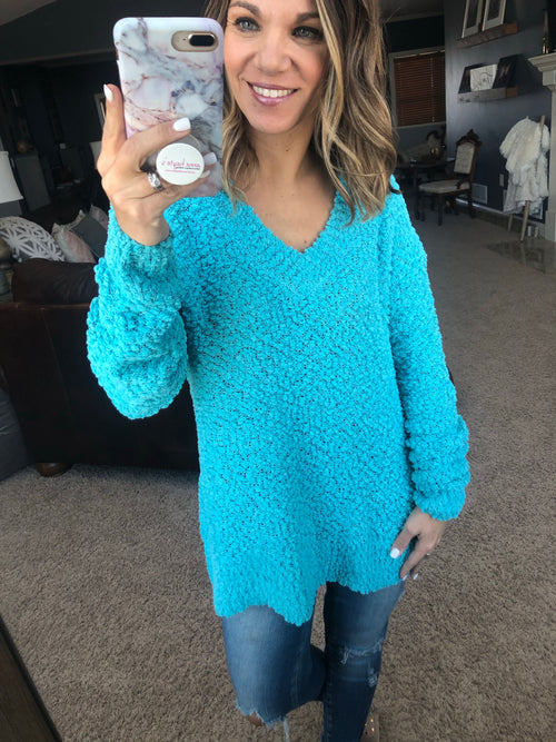 My Best Life V Neck Popcorn Sweater- Radiant Blue