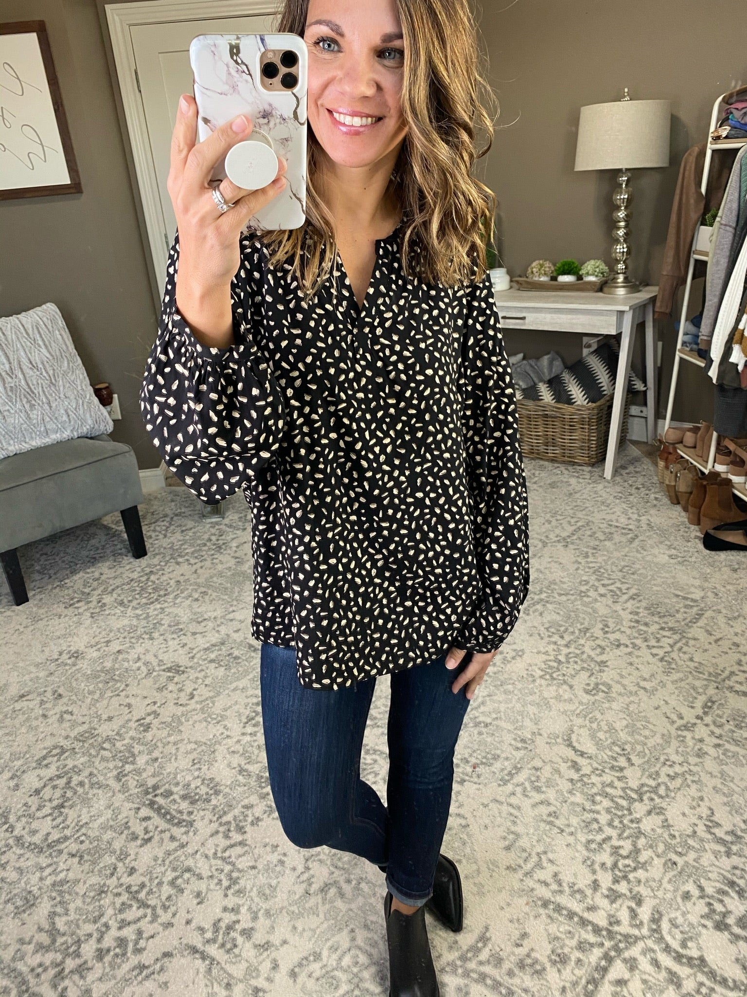 Wish I Knew V Neck Dotted Blouse- Multiple Options