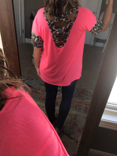 Tired Of Dreaming Neon Pink Tee with Cheetah Sleeves & Criss Cross Back