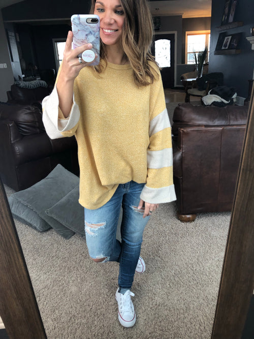 In Deep Thought Yellow Stripe Bell Long Sleeve Top